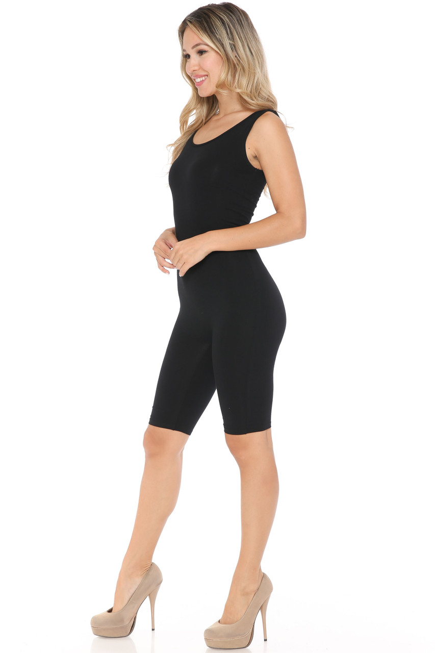 Left side view of made in USA Basic Cotton Shorts Jumpsuit with a mid thigh length hem