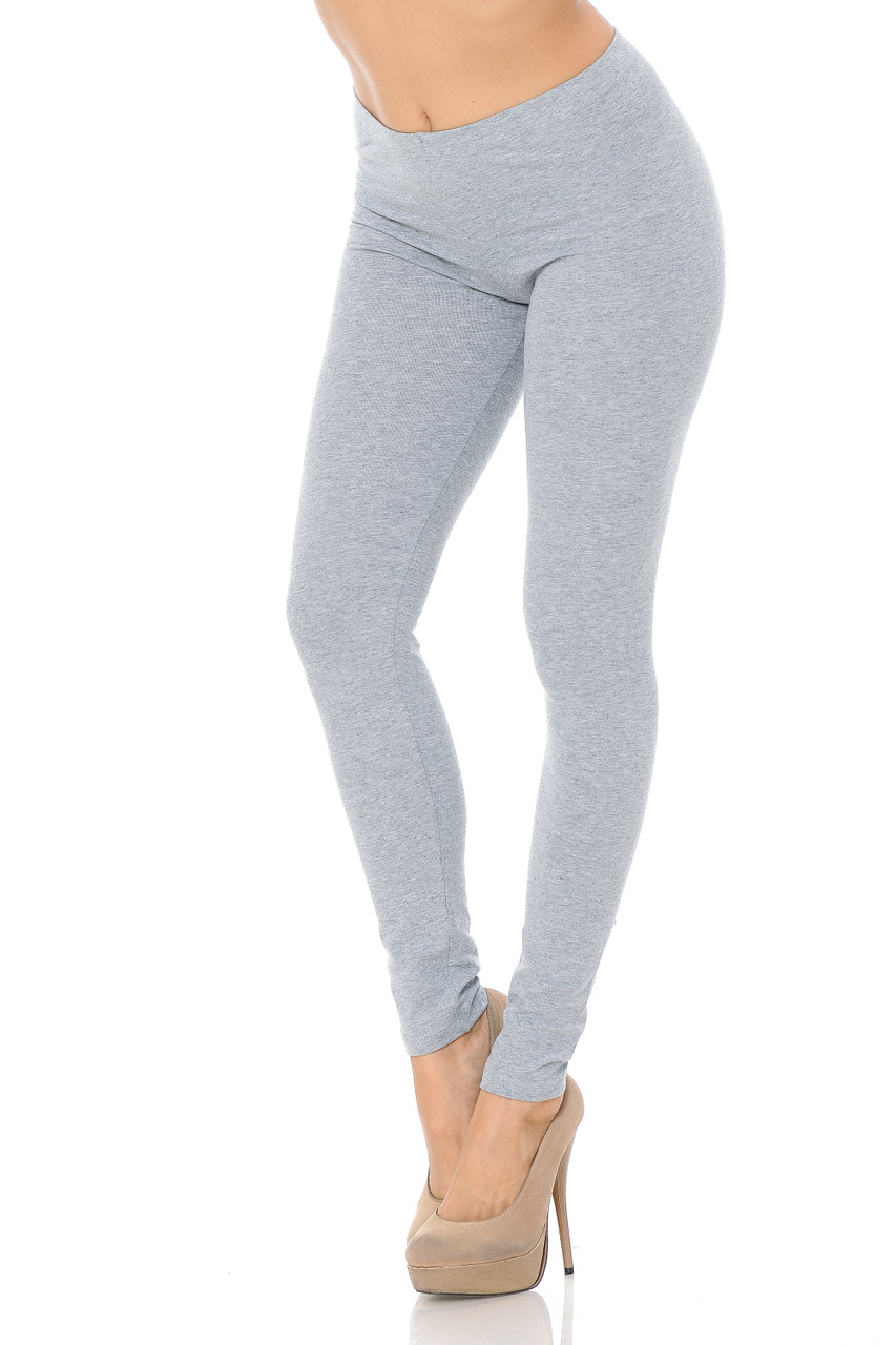45 degree angled view of Heather Grey USA Full Length Cotton Leggings