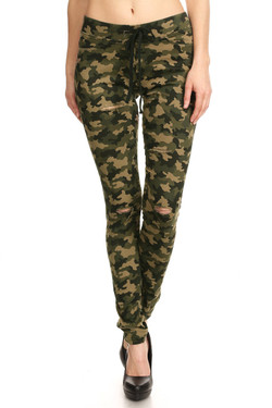 Camouflage Drawstring Jeggings