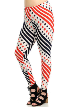 Spiral Stars and Stripes Leggings - Plus Size