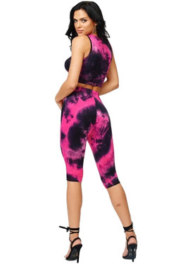 Black and Fuchsia Tie Dye Top and Leggings Set