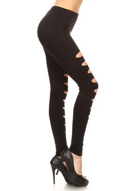 Front Slashed Black Leggings