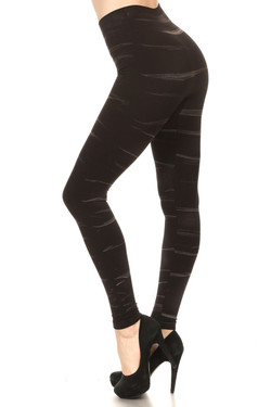 Whisker Wash High Waisted Cotton Leggings