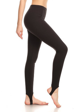 Side image of Black Sport Stirrup Leggings