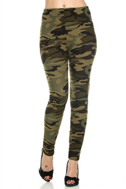 Front side image of Extra Plus Size Green Camouflage Leggings - 3X-5X
