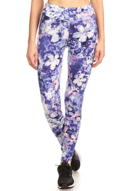 Brushed High Waisted Indigo Floral Sport Leggings
