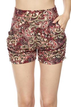 Elegant Burgundy Paisley Harem Shorts