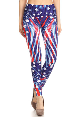 Beautiful Blue USA Flag Plus Size Leggings
