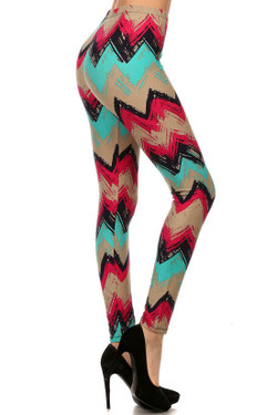 Electric Blue Chevron Plus Size Leggings - 3X-5X