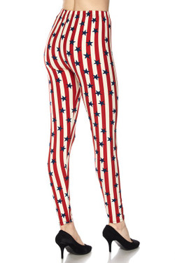 Vertical Stripes USA Flag Plus Size Leggings