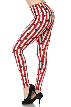 High Waist Vertical Stripes USA Flag Plus Size Leggings