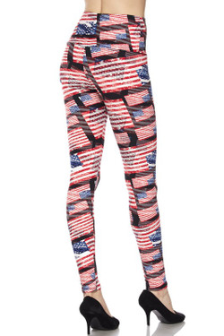 High Waisted 3D Hologram USA Flag Plus Size Leggings