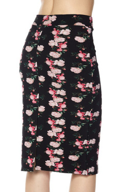Scuba Lil' Pink Roses Pencil Skirt
