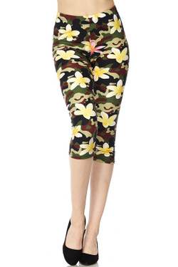 Floral Fresh Camouflage Plus Size  Capris