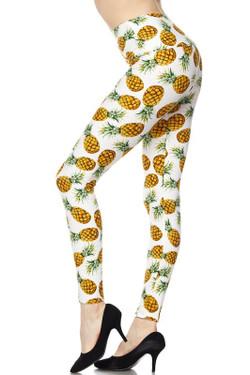 High Waisted Ivory Pineapple Plus Size Leggings