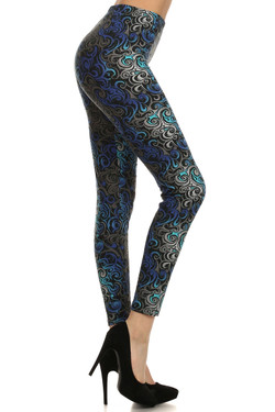 Right side image of Blue Tangled Swirl Leggings