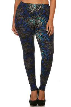 Front side image of Plus Size Blue Tangled Swirl Leggings - 3X-5X