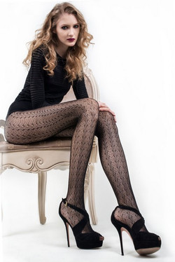 Vertical Fanned Nylon Pantyhose