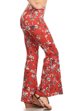 Buttery Soft Red Summer Floral Bell Bottom Leggings