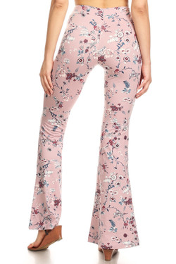 Buttery Soft Beautiful Blush Floral Bell Bottom Leggings