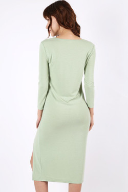 Premium 3/4 Sleeve Front Slit Midi Dress