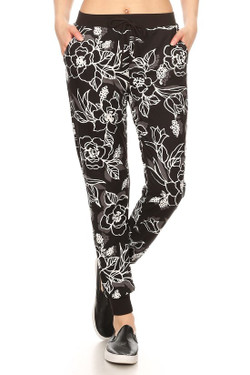 Black Etched Floral Joggers