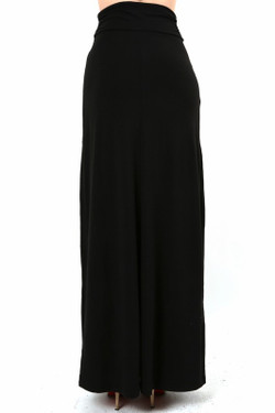 Premium Side Shirring Black Maxi Skirt
