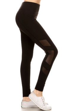 Black Side Mesh Panel Sport Leggings