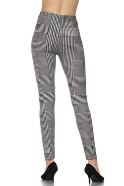 BrushedBurgundy Accent Houndstooth Plaid Plus Size Leggings - 3X-5X