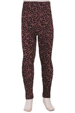 Buttery Soft Pink Speckle Leopard Kids Leggings