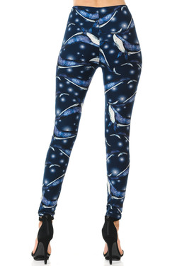 Buttery Soft Blue Whale Plus Size Leggings - 3X-5X