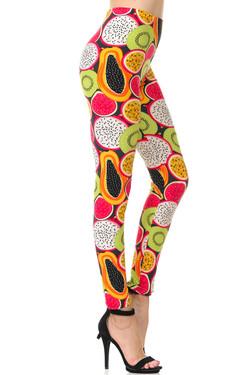 Buttery Soft Colorful Tropical Fruit Plus Size Leggings - 3X-5X