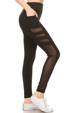 Premium Side Pocket Tri-Mesh Workout Leggings