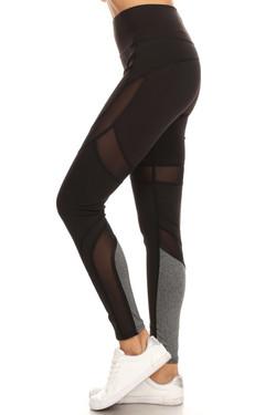 Premium Black Multi Mesh Panel Workout Leggings