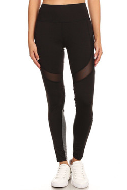 Premium Black Multi Mesh Panel Workout Leggings