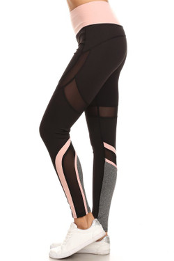 Premium Pink Multi Mesh Panel Workout Leggings
