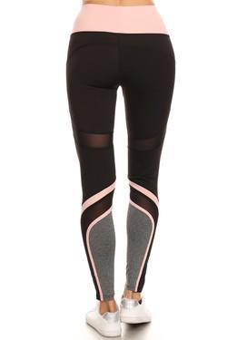 Premium Pink Multi Mesh Panel Workout Leggings