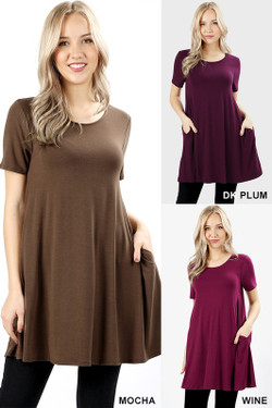 Premium Round-Neck Straight Hem Tunic with Pockets