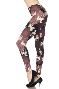 Buttery Soft Mauve Stallion Plus Size Leggings - 3X-5X