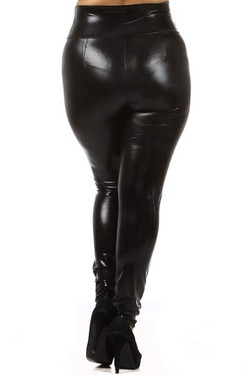 Shiny Black High Waisted Plus Size Faux Leather Leggings