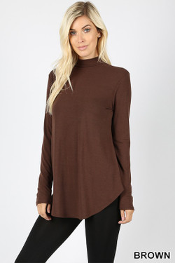 Premium Long Sleeve Mock Neck Round Hem Top