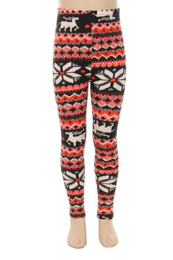 Velour Flakey Reindeer Kids Leggings