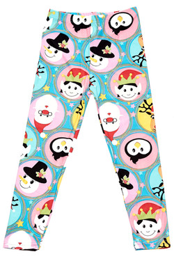 Buttery Soft Cute Christmas Faces Kids Leggings
