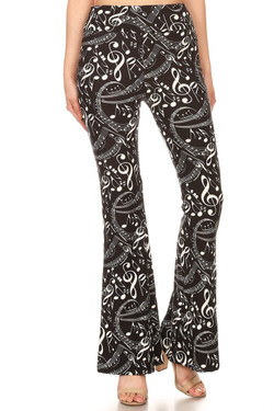 Buttery Soft Music Note Bell Bottom Leggings