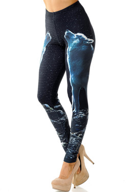 Creamy Soft Howling Wolf Leggings