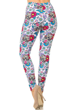 Buttery Soft Lavender Sugar Skull Plus Size Leggings