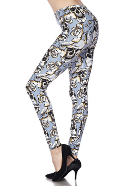 Buttery Soft Charcoal Rose Sugar Skull Plus Size Leggings