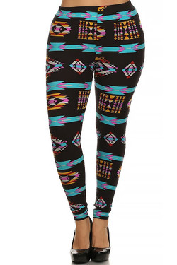 Front image of Buttery Soft Sacred Tribal Plus Size Leggings