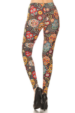 Buttery Soft Mango Sugar Skull Plus Size Leggings