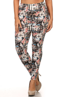 Buttery Soft Scratch Floral Plus Size Leggings